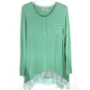 LOGO Medium Slub Knit Top with Mesh Trim Green